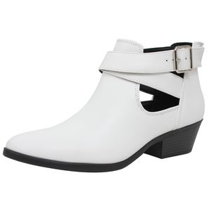 Shoes - White Double Buckle Cutout Low Heel Ankle Boot